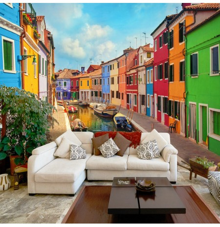 Fotomurale Colorful Canal in Burano